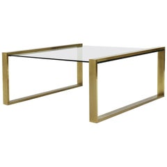 Brass Coffee Table with Rectangular Glass Top, 1950s
