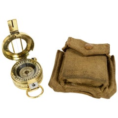 Brass Compass 1945 with Original Green Fabric Case