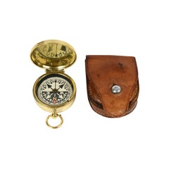 Brass Compass Made in England in the Early 1900s with its Leather Case