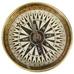 XIX century Antique Brass Magnetic Topographic Compass with Goniometric Circle
