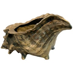 Brass Conch Shell Planter Centerpiece