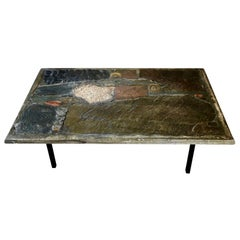 Brass, Concrete and Slate Coffee Table by Paul Kingma, Signed and Dated 1973
