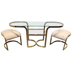 Brass Console Cafe Table with Pink Chairs by DIA Design Institute of America