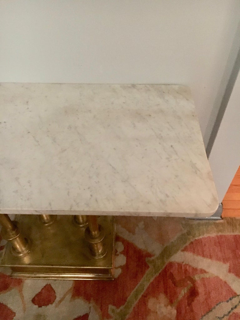 Brass Console Table with Marble Top In Excellent Condition For Sale In Los Angeles, CA