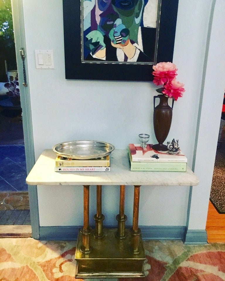 Brass Console Table with Marble Top For Sale 3
