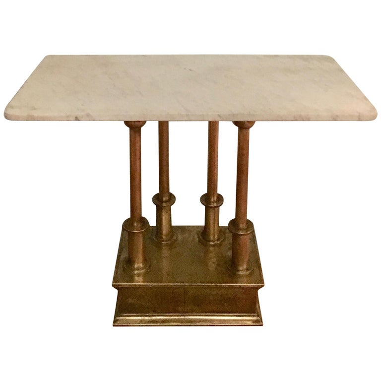 Brass Console Table with Marble Top For Sale