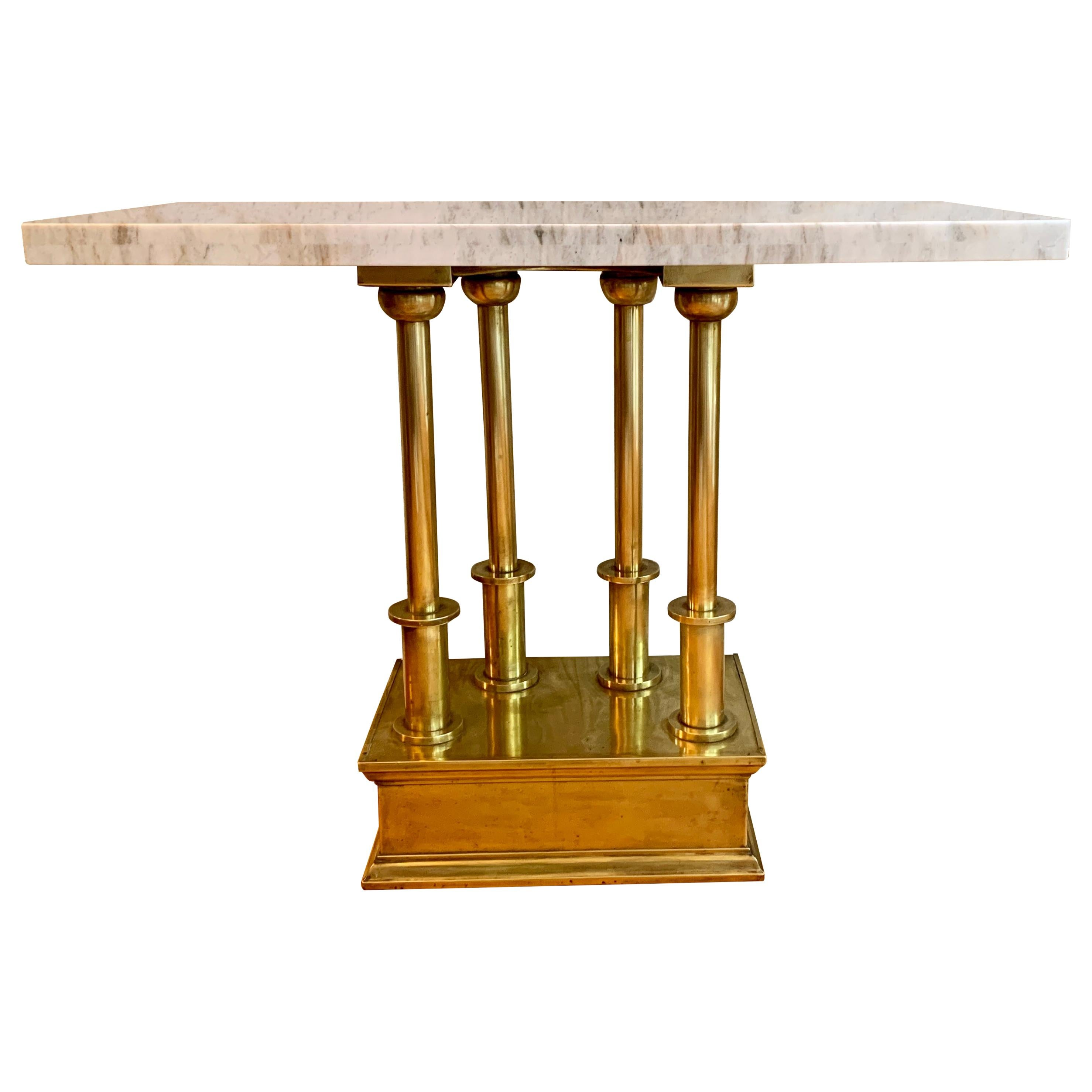 Brass Console Table with Marble Top