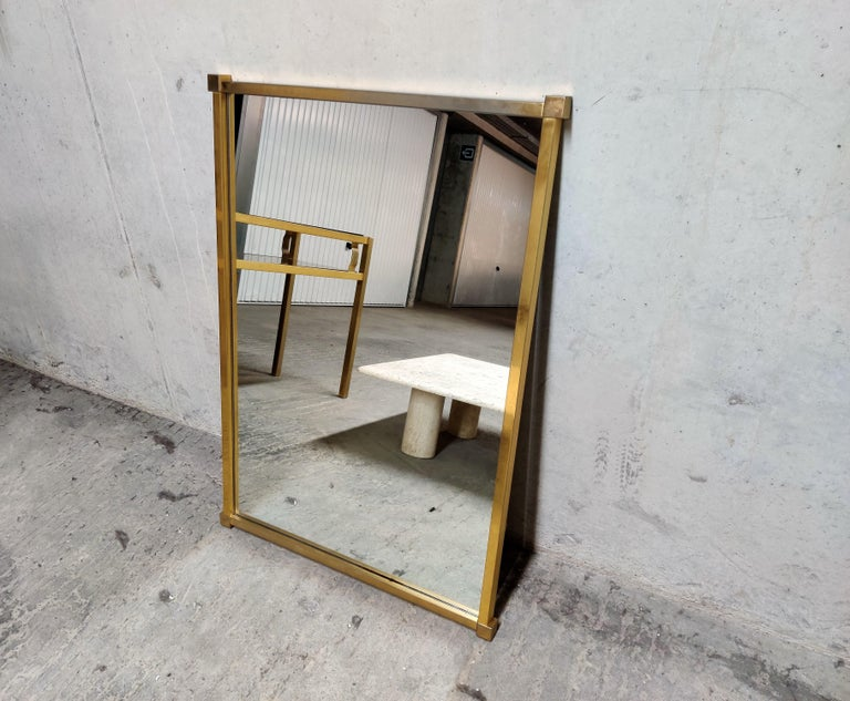 Hollywood Regency Brass Console Table with Mirror and Stool, 1970s For Sale