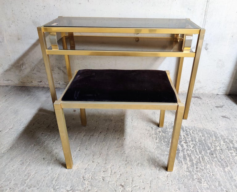 German Brass Console Table with Mirror and Stool, 1970s For Sale