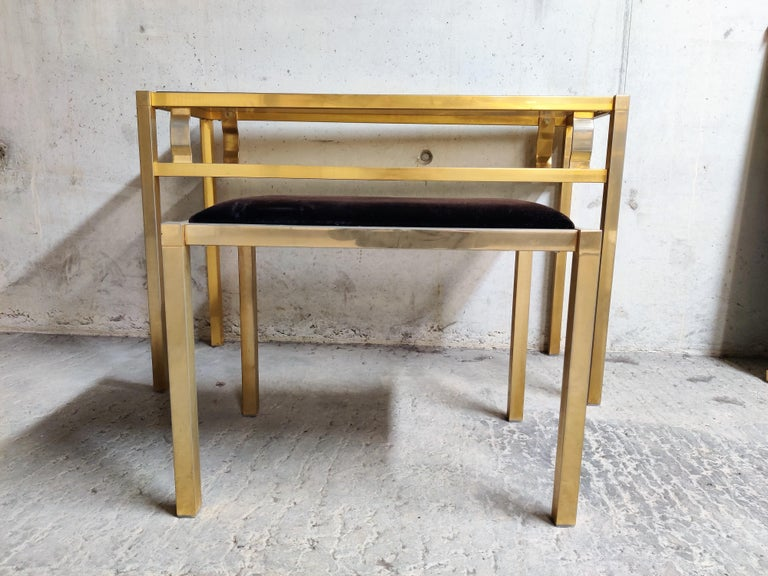 Brass Console Table with Mirror and Stool, 1970s In Good Condition For Sale In Sint Joris Weert, BE