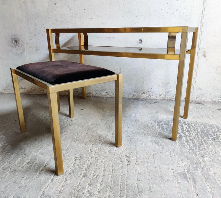 Late 20th Century Brass Console Table with Mirror and Stool, 1970s For Sale