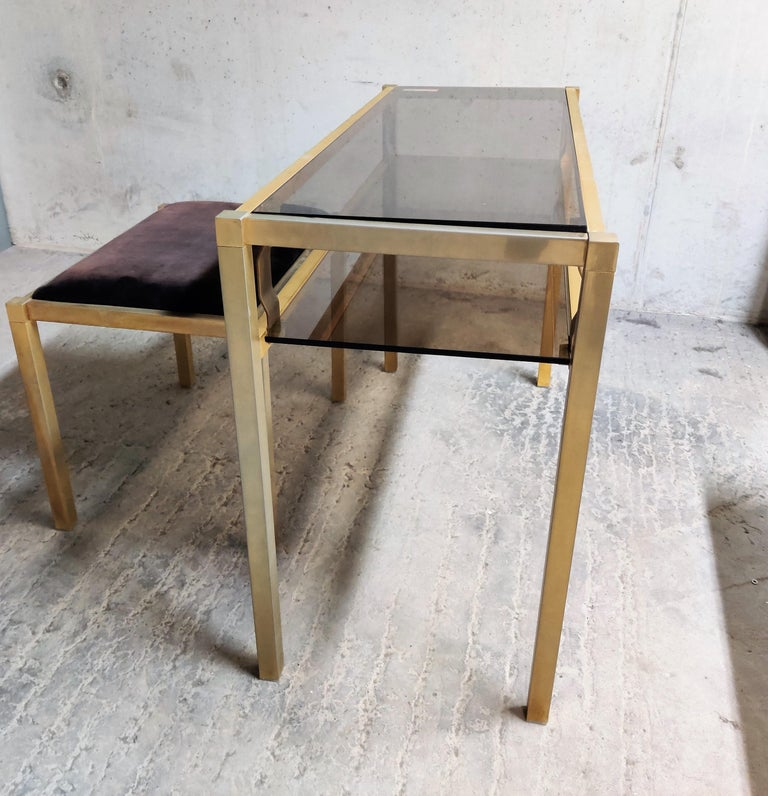 Brass Console Table with Mirror and Stool, 1970s For Sale 2