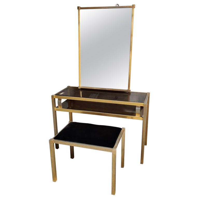 Brass Console Table with Mirror and Stool, 1970s For Sale