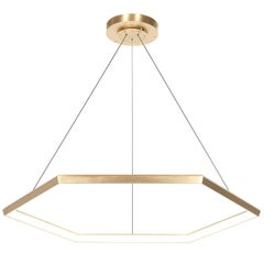 Brass Contemporary Hexagon Geometric Modern Chandelier, Hexia HX46 Light Fixture