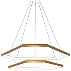 DITRI CASCADE DXC43 - Brass Hexagon Modern LED Chandelier Light Fixture