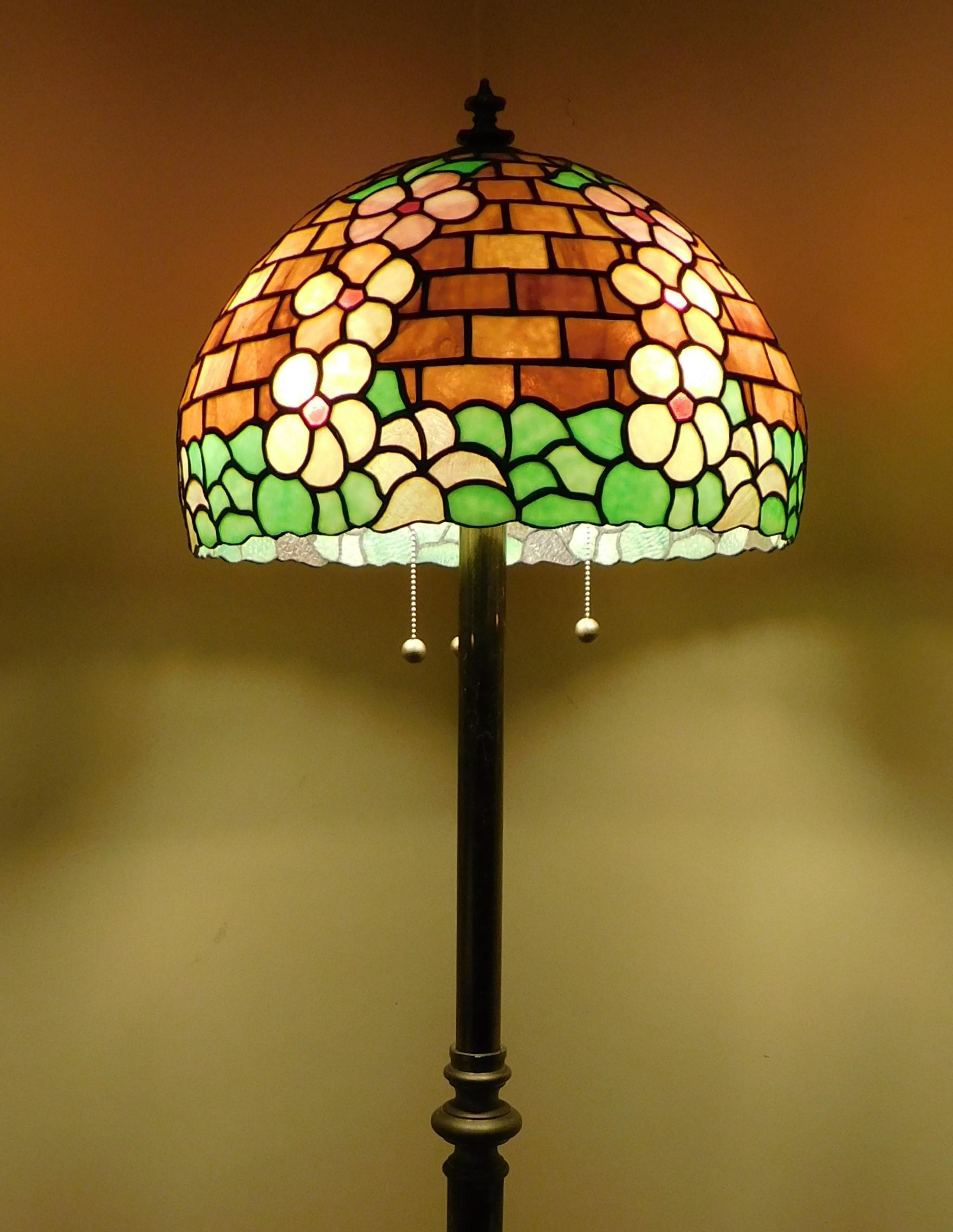 Brass copper floor lamp with handmade tiffany style shade for sale at 1stdibs