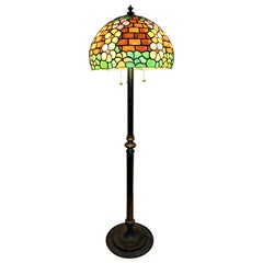 Brass Copper Floor Lamp with Handmade Tiffany Style Shade