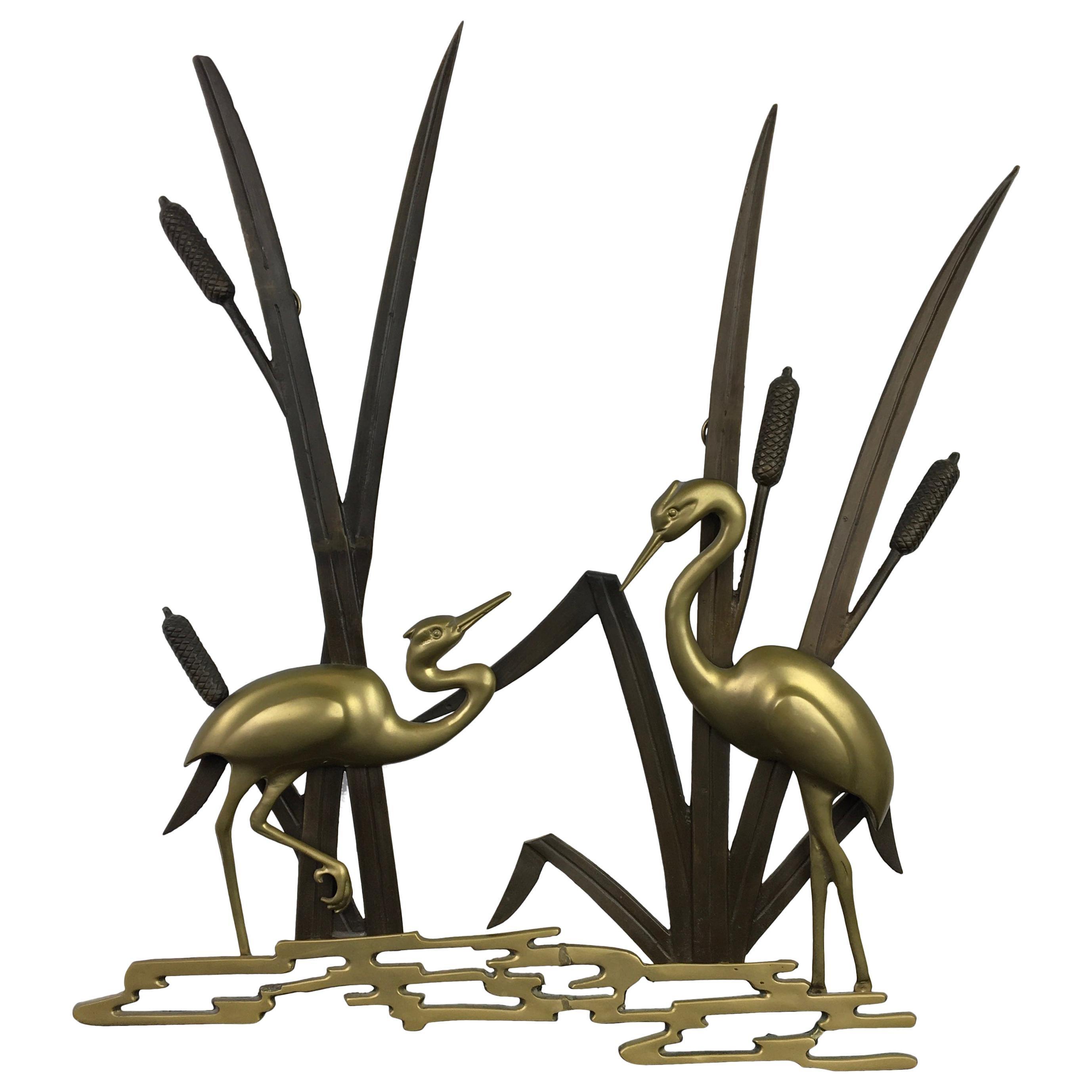 Brass Crane Birds Wall Sculpture, 1960s