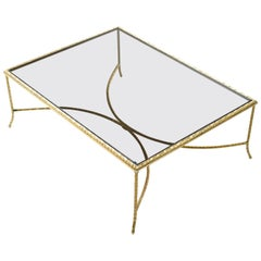 Brass Crossed Arch Base Gold Mediterranean Laurel Leaf Coffee Table