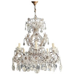 Brass Crystal Chandelier Antique Ceiling Lamp Lustre Art Nouveau Lamp