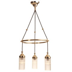 Brass Crystal Jugendstil Glass and brass Chandelier, Re-Edition