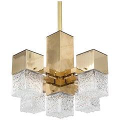 Brass Cubic Chandelier by Scholar