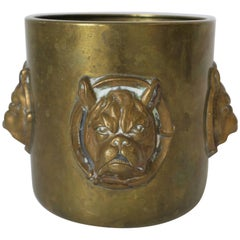 Brass Cup with Bulldog Face Sculpture