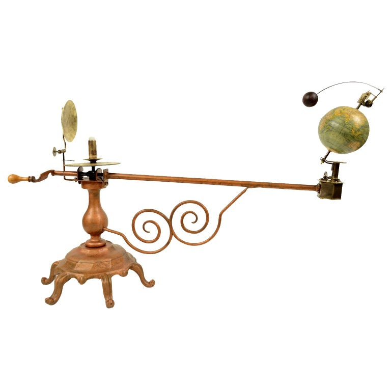 Antique brass orrery planetarium made for the German market by Jan Felkl Prag in the second half of the nineteenth century. Cast iron base, papier mâché´ globe, with detailed territorial map and oceanic currents. Very good condition. Measures: