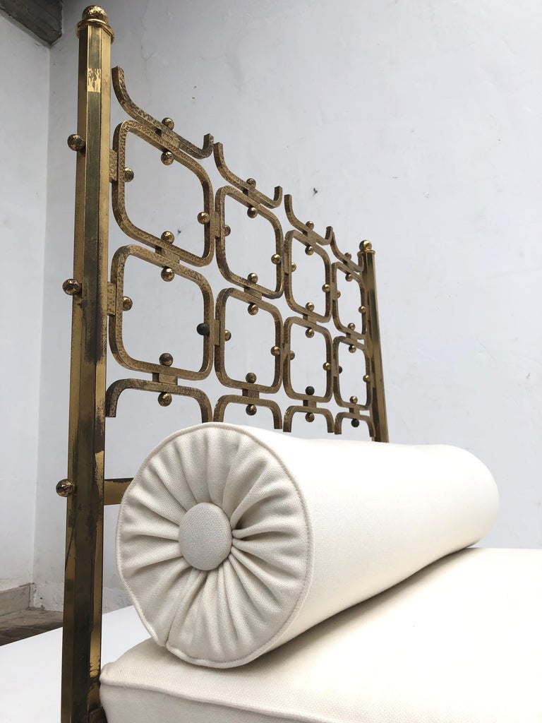 Mid-Century Modern Brass Day Bed by Borsani and Sculptor Arnaldo Pomodoro , circa 1958 For Sale