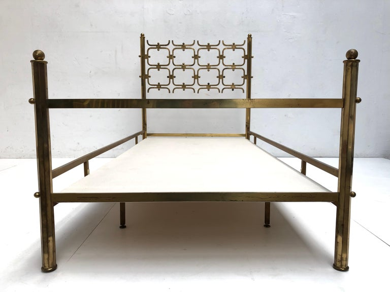 Wool Brass Day Bed by Borsani and Sculptor Arnaldo Pomodoro , circa 1958 For Sale
