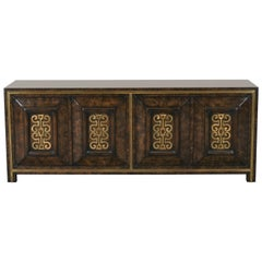 Brass Decorated Carpathian Elm Mastercraft Credenza by William Doezema, 1960s