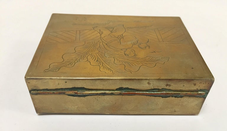 20th Century Brass Decorative Trinket Box For Sale