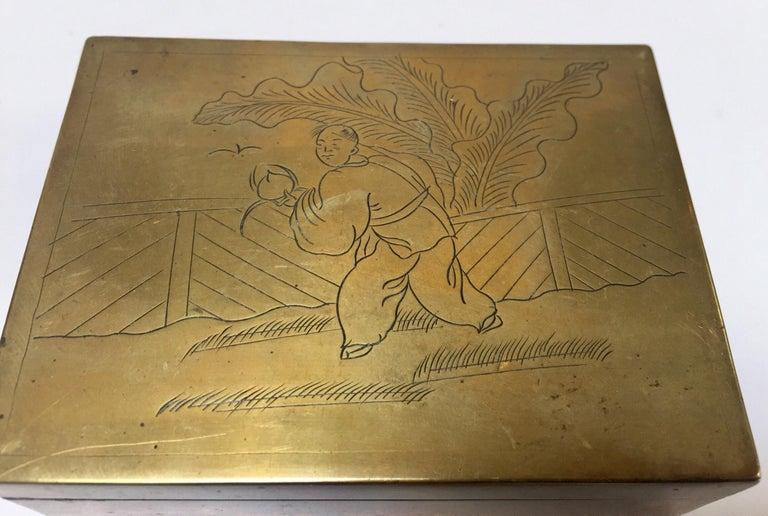 Folk Art Brass Decorative Trinket Box For Sale