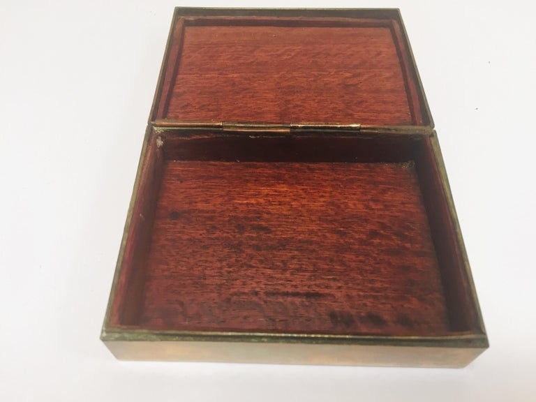 Hand-Crafted Brass Decorative Trinket Box For Sale