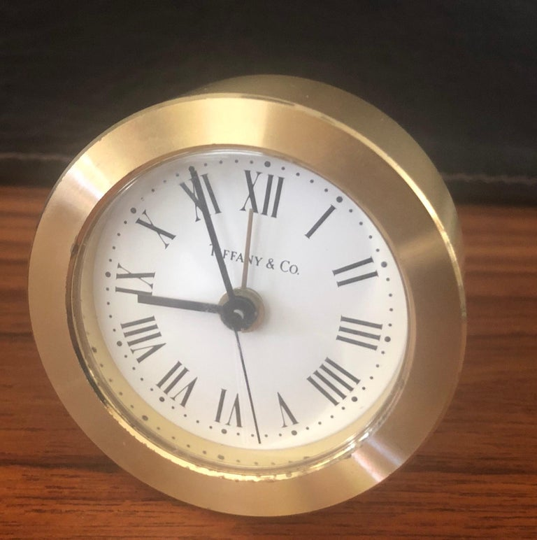 Brass Desk Alarm Clock by Tiffany & Co. In Good Condition For Sale In San Diego, CA