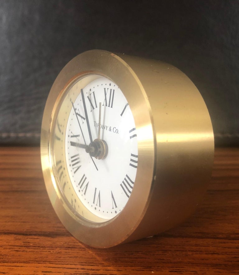 20th Century Brass Desk Alarm Clock by Tiffany & Co. For Sale