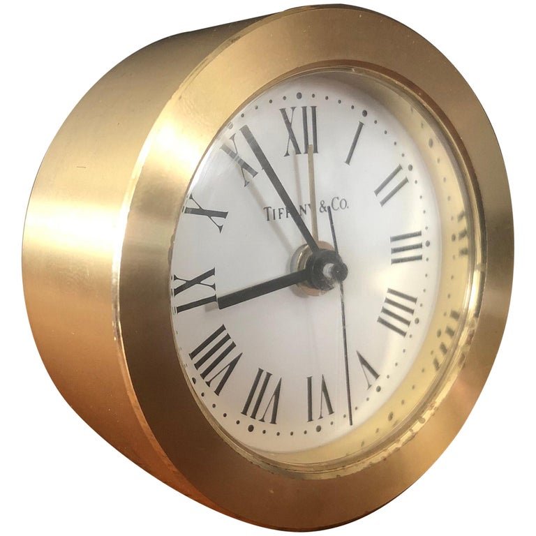 Brass Desk Alarm Clock by Tiffany & Co. For Sale