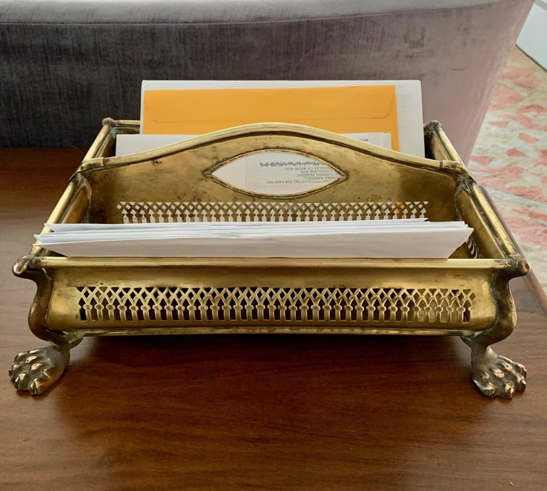 Brass Desk Vanity Caddy with Lion Feet In Good Condition For Sale In Los Angeles, CA