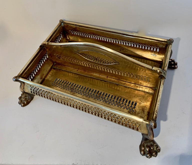 Brass Desk Vanity Caddy with Lion Feet For Sale 2