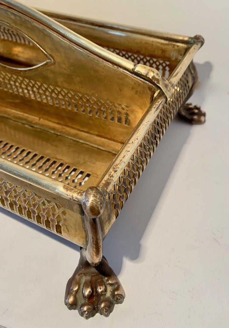 Brass Desk Vanity Caddy with Lion Feet For Sale 3