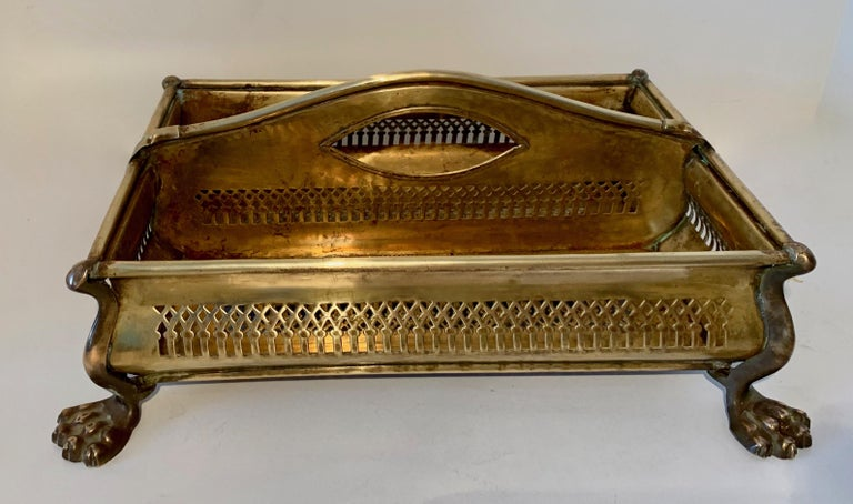 Brass Desk Vanity Caddy with Lion Feet For Sale 4