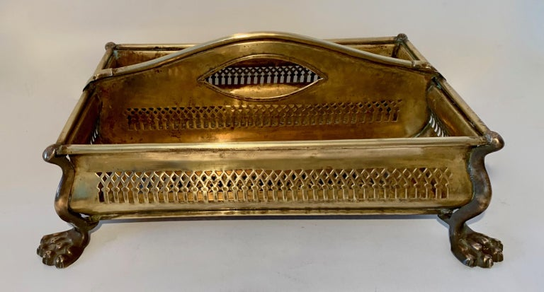 Brass Desk Vanity Caddy with Lion Feet For Sale 5