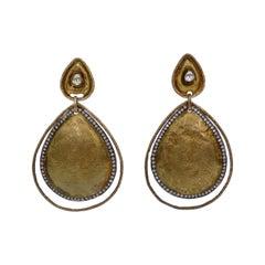 Brass Diamond Embellished Dangle Earrings