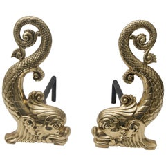 Brass Dolphin-Form Andirons