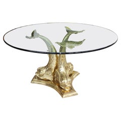 Brass Dolphin Form Table Base