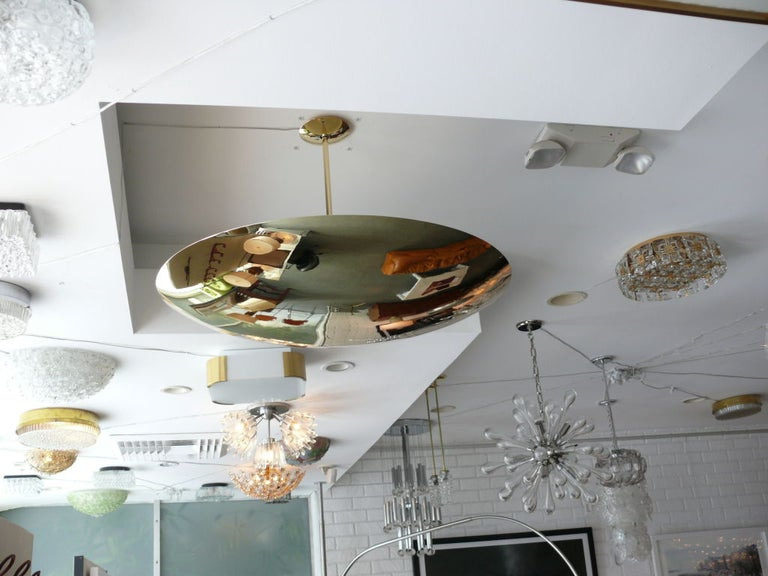 Contemporary Brass Dome Ceiling Pendant For Sale