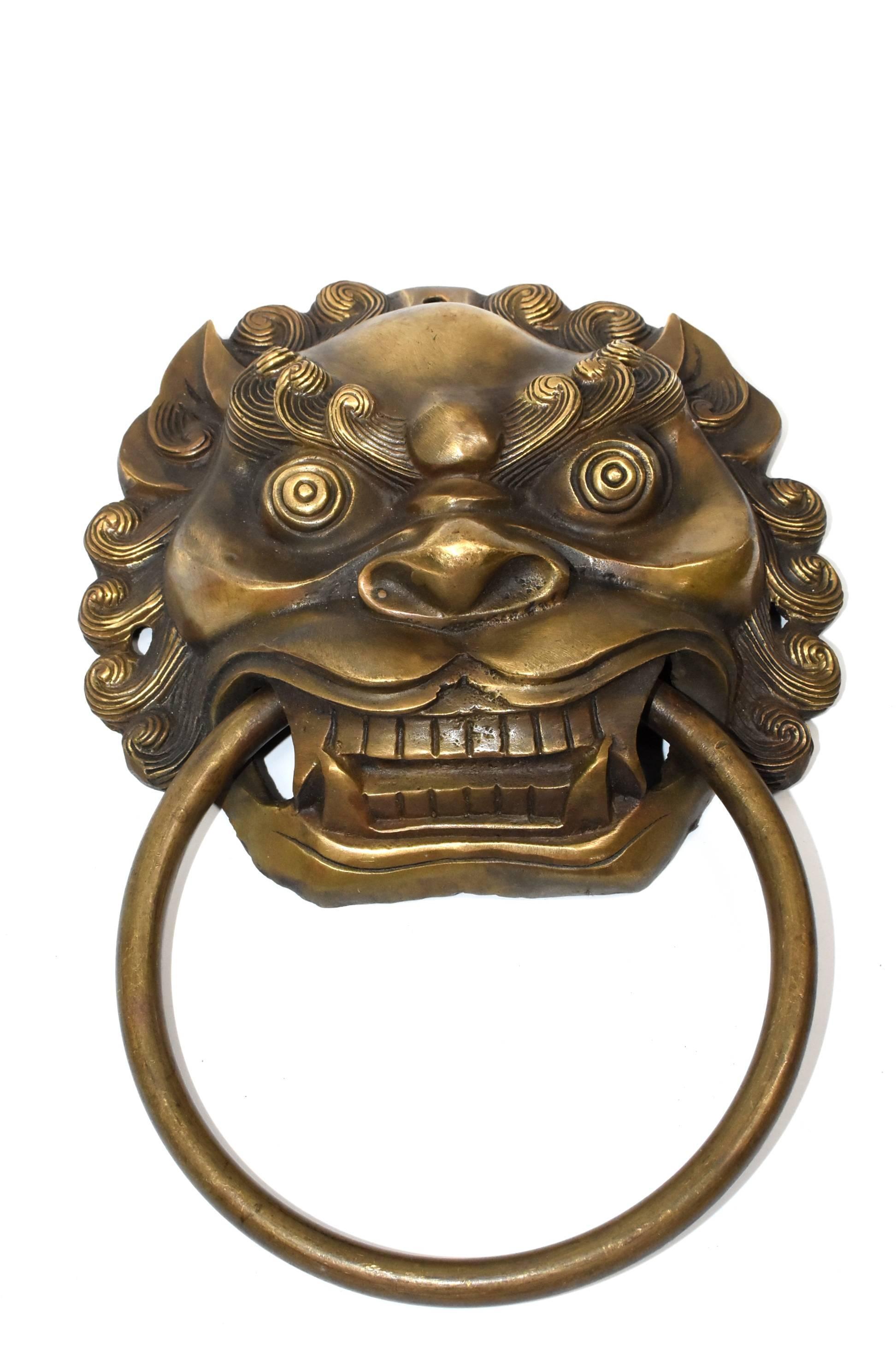 Brass Door Knockers, Asian Lion Motif