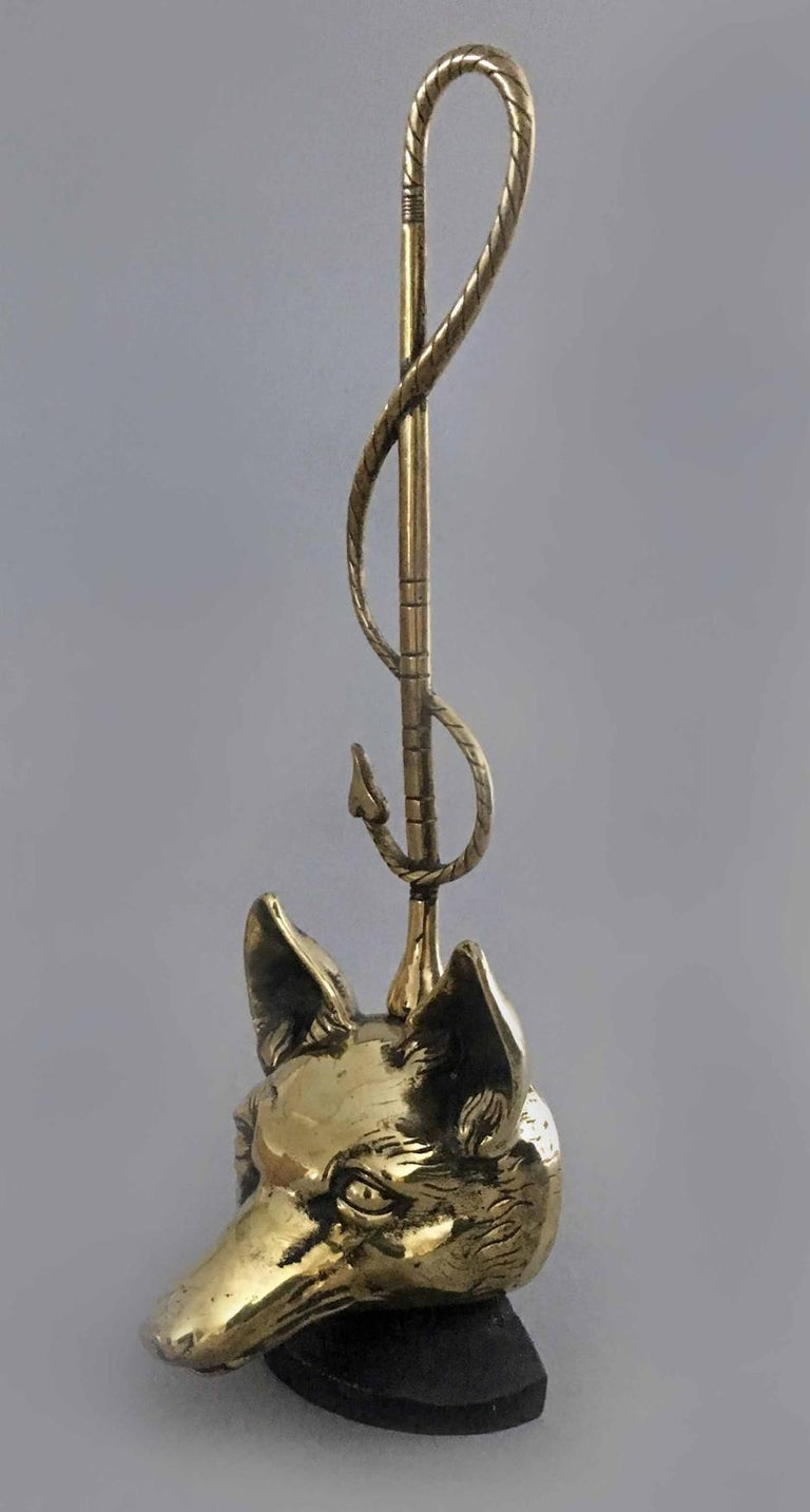 English Brass Doorstop in Form of a Fox For Sale