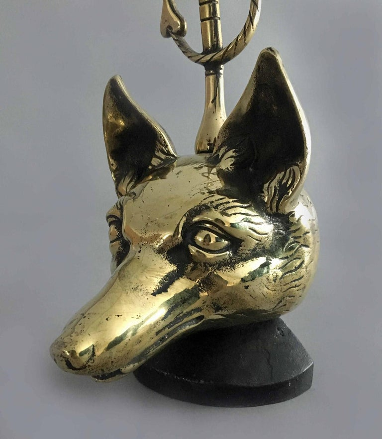 20th Century Brass Doorstop in Form of a Fox For Sale