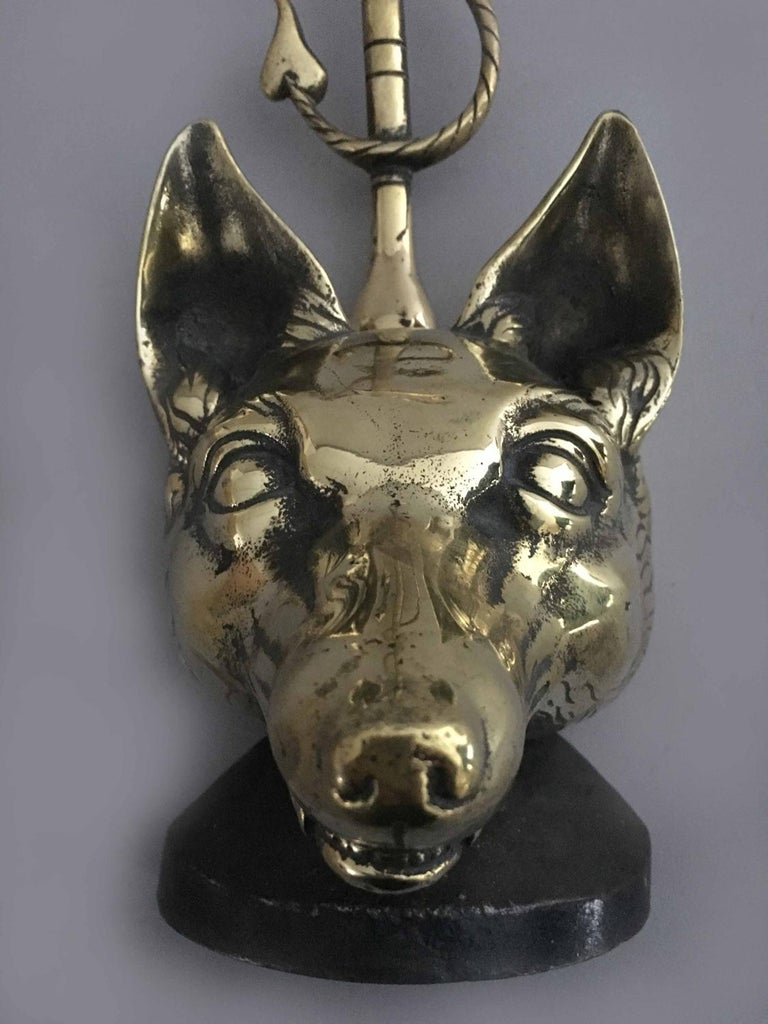 Brass Doorstop in Form of a Fox For Sale 1